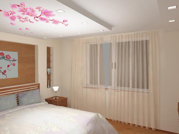 11 Натяжные потолки в спальне